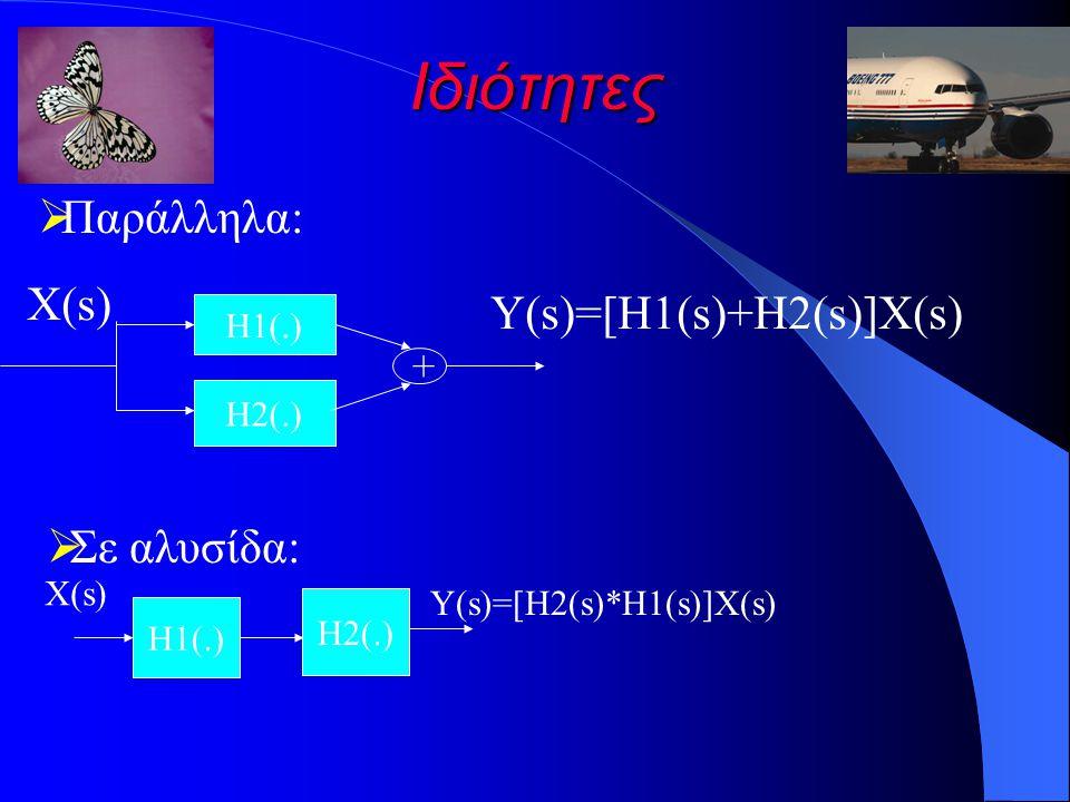 Ιδιότητες Παράλληλα: X(s) Y(s)=[H1(s)+H2(s)]X(s) Σε αλυσίδα: + H1(.)